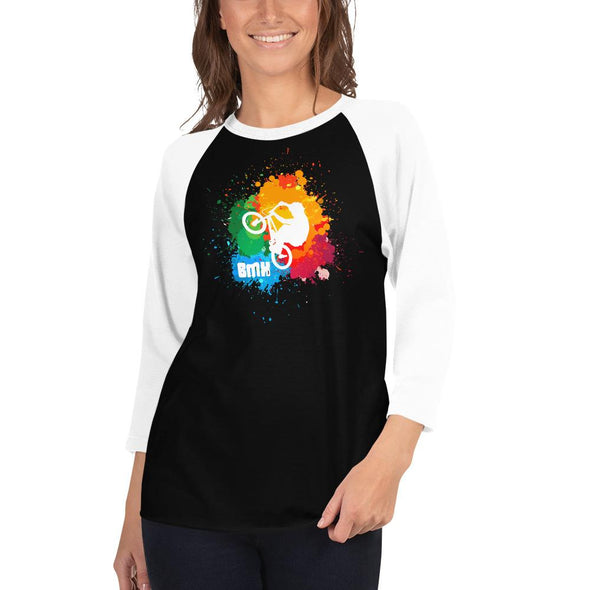 BMX (Paint Splatter) Women's 3/4 Sleeved T-Shirt