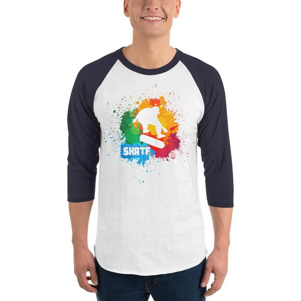 Skateboarding (Paint Splatter) Men's 3/4 Sleeved T-Shirt