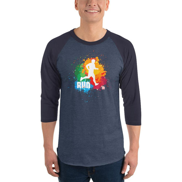 Running (Paint Splatter) Men's 3/4 Sleeved T-Shirt