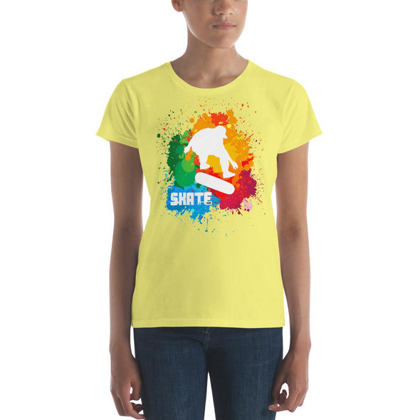 Skateboarding (Paint Splatter) Women's Slim-Fit T-Shirt