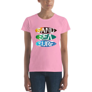 Surfing (Sand, Sea, Surf) Women's Slim-Fit T-Shirt