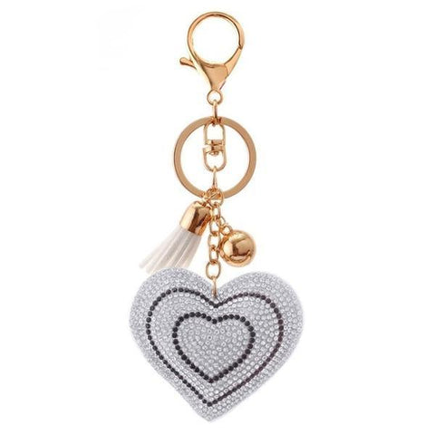 Silver Love Heart Metal Crystal Charm - Think Fanny