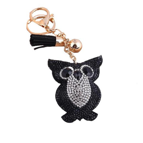 Crystal Owl Pendant Leather Charm - Think Fanny