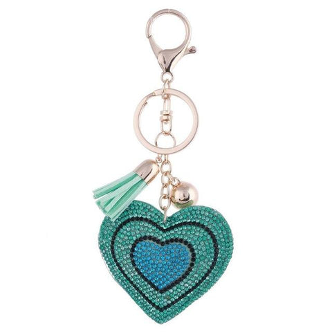 Lake Blue Love Heart Metal Crystal Charm - Think Fanny