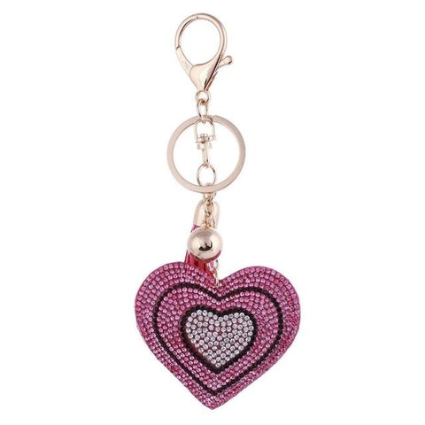 Pink Love Heart Metal Crystal Charm - Think Fanny