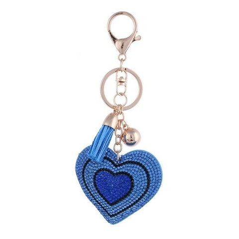 Blue Love Heart Metal Crystal Charm - Think Fanny