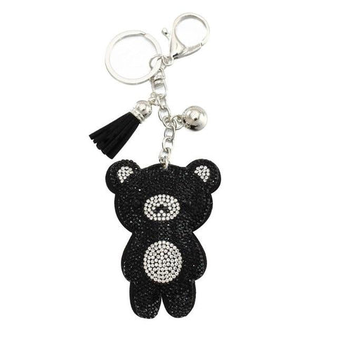 Crystal Bear Pendant Leather Charm - Think Fanny