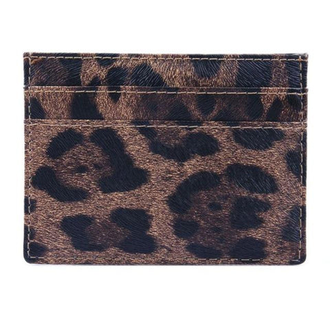 Leopard Wild Leather Card Holder - Think Fanny