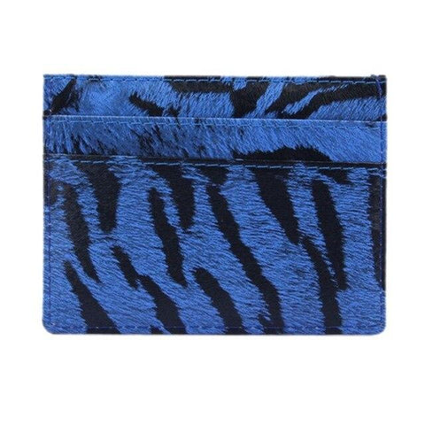 Blue Wild Leather Card Holder - Think Fanny