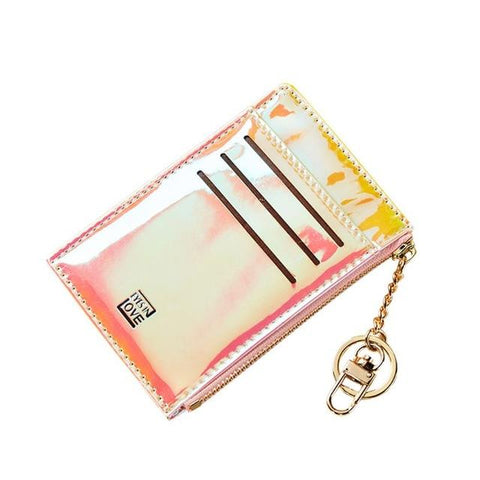 Pink Laser Slim Card Holder - Think Fanny