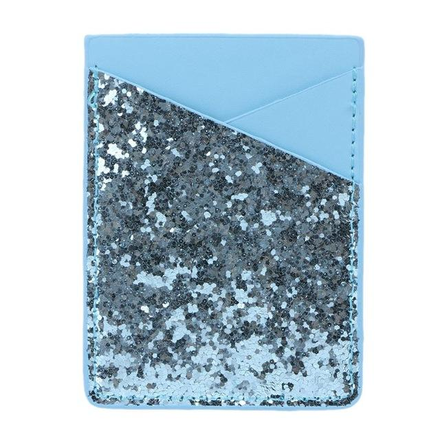Blue Sequins Glitter Card Holder - Think Fanny