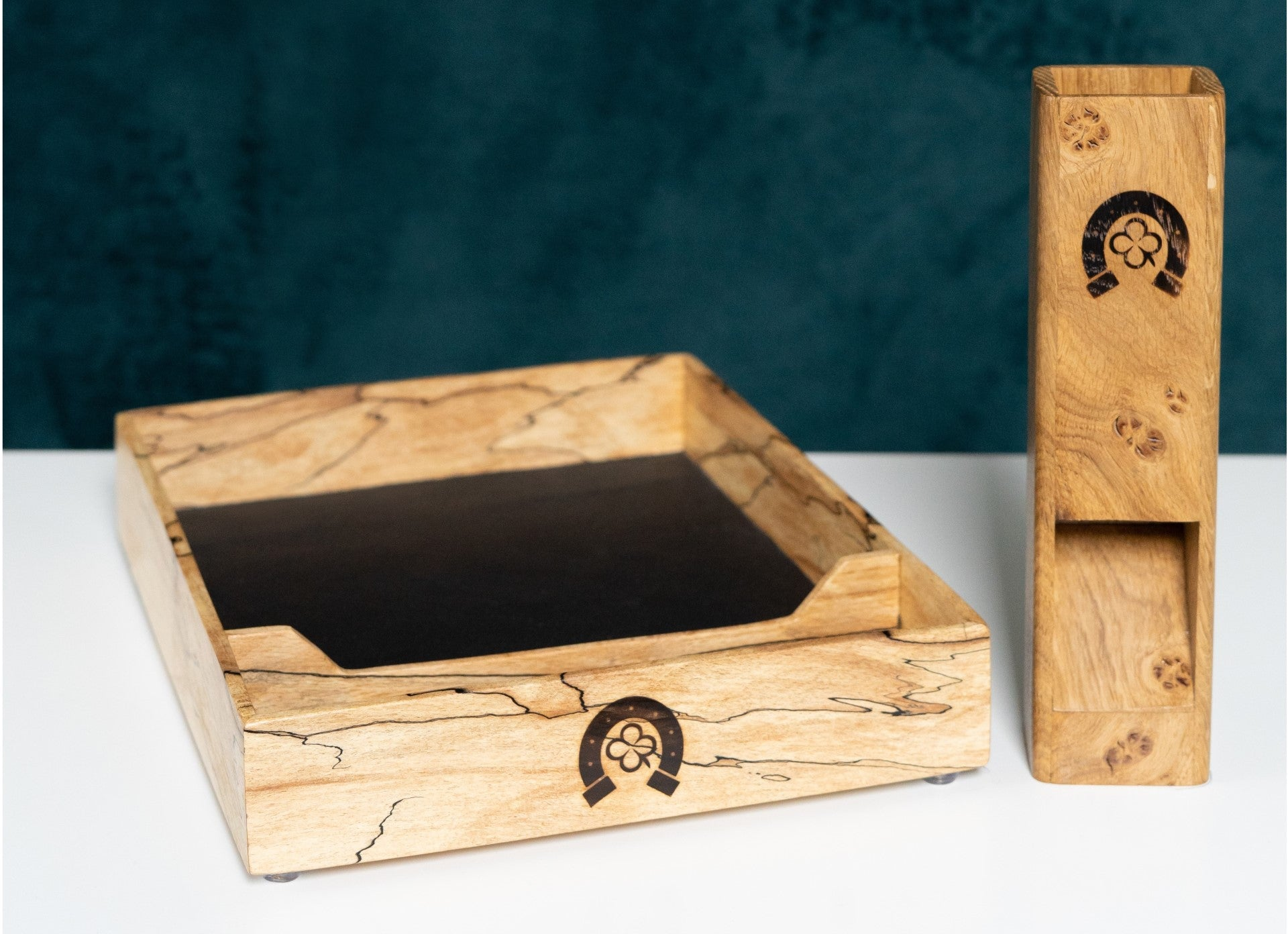 Spalted Beech dice tray & Pippy Oak dice tower