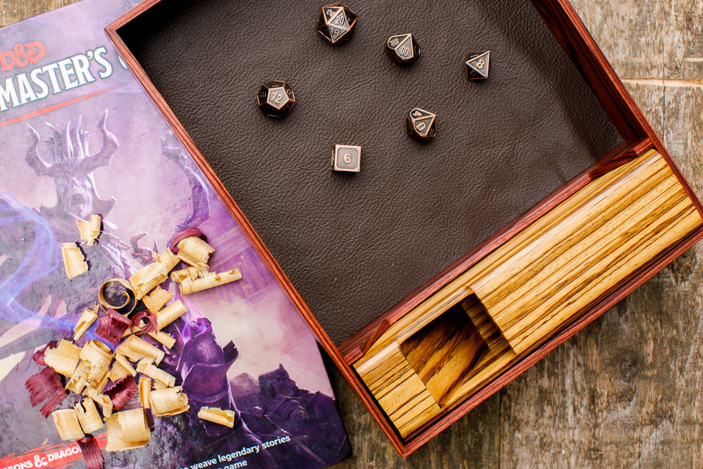 rosewood dice tray and tower