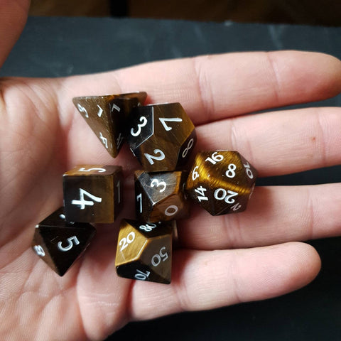 Yellow Tiger's Eye dice
