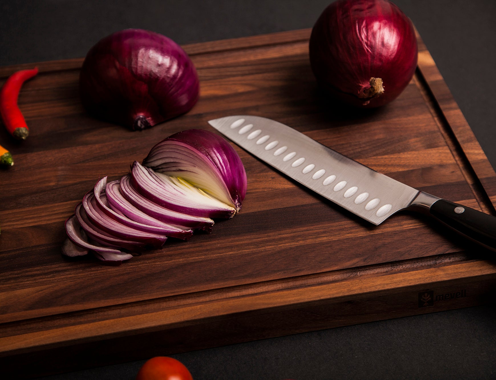 1812H Edge Grain Walnut Cutting Board with Juice Groove and Handles  1 ¼ Thick