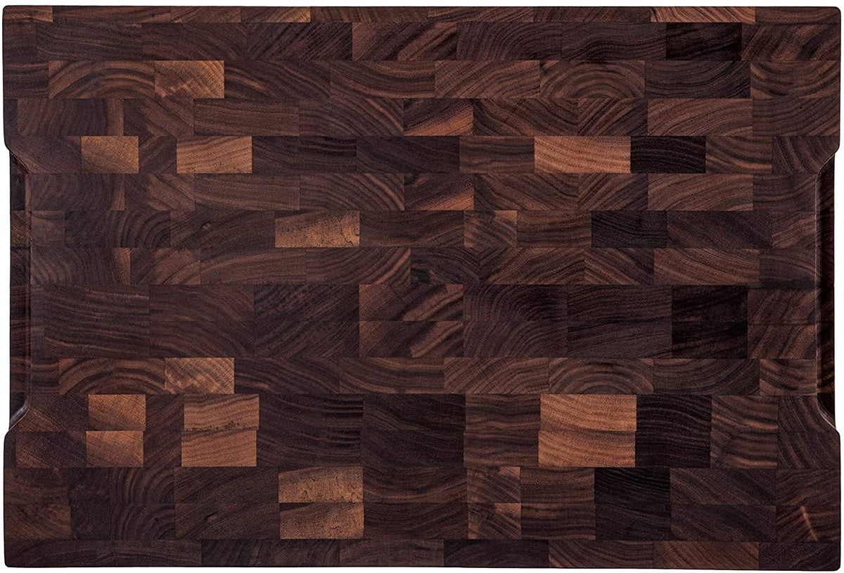 18x12x1.5'' End Grain Walnut Cutting Board with Juice Grooves and Handles