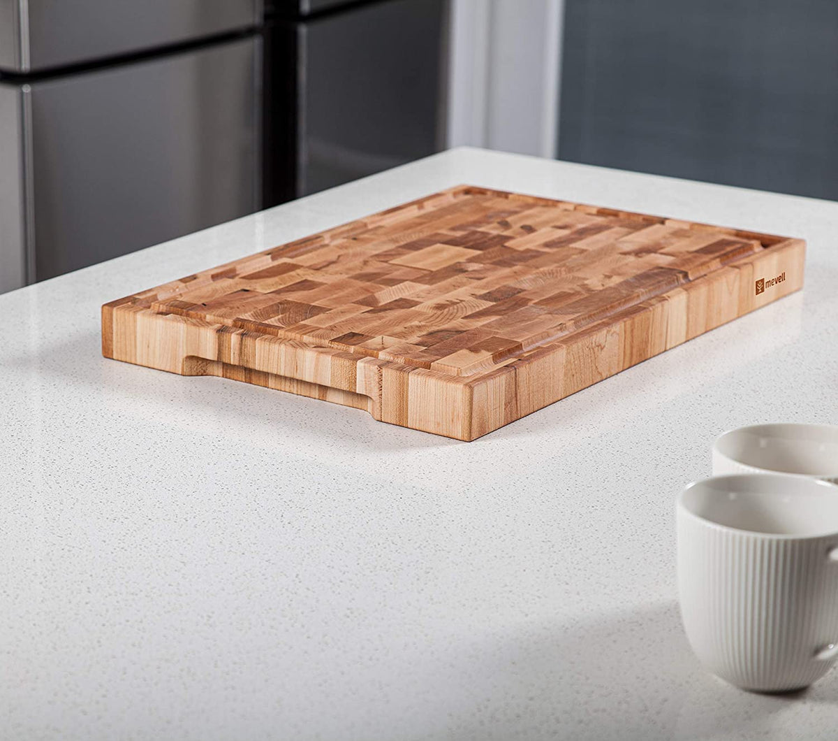 18x12x1.5'' End Grain Maple Cutting Board with Juice Grooves and Handles