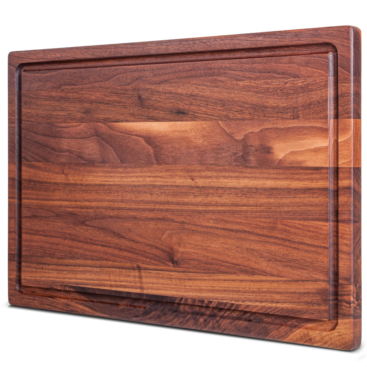 17x11x0.75'' Flat Grain Walnut Cutting Board with Juice Grooves