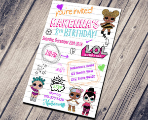 LOL SURPRISE DOLLS BIRTHDAY INVITATION - LOL SURPRISE BIRTHDAY