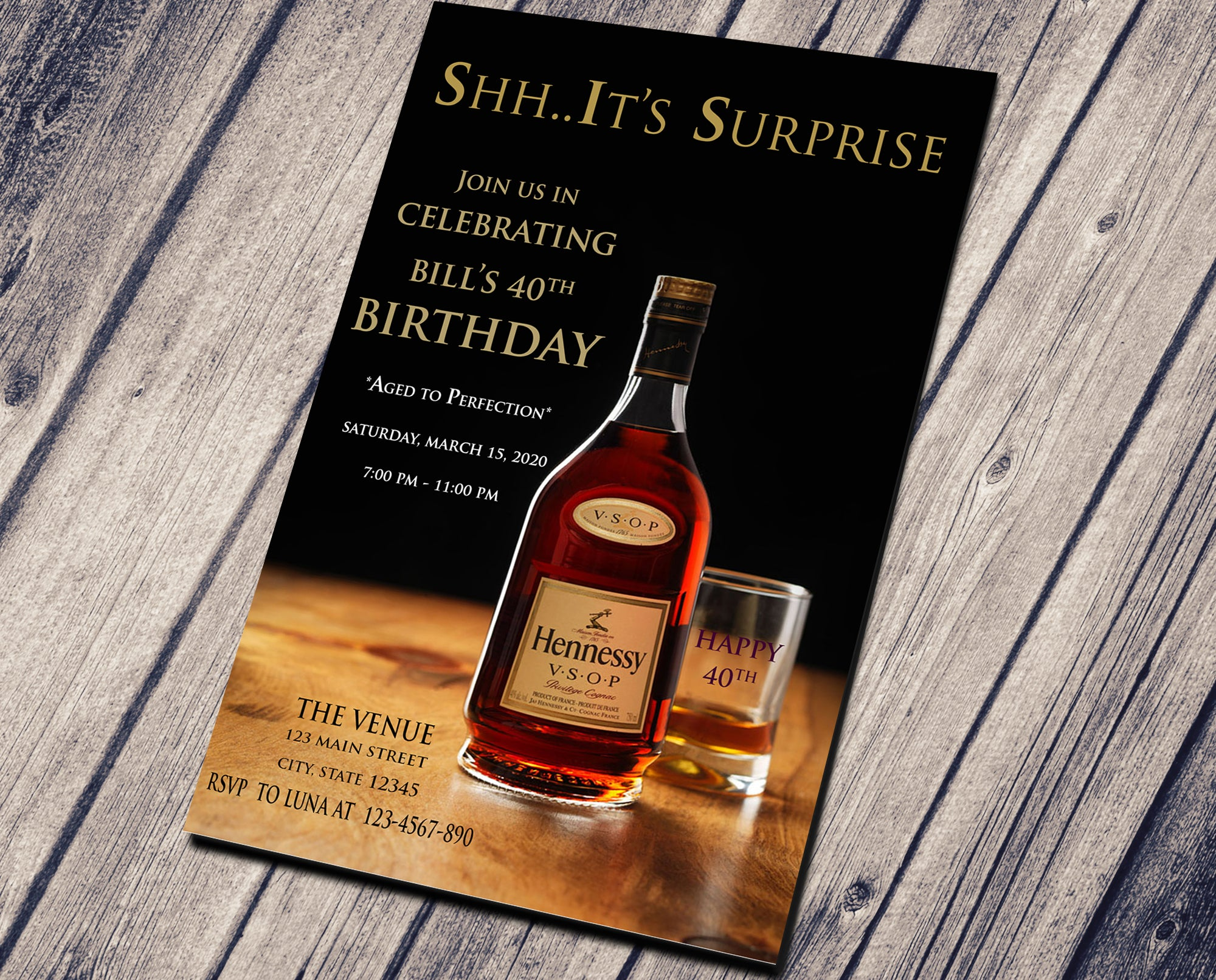 SURPRISE PARTY BIRTHDAY INVITATION - CUSTOM INVITATION FOR ADULT