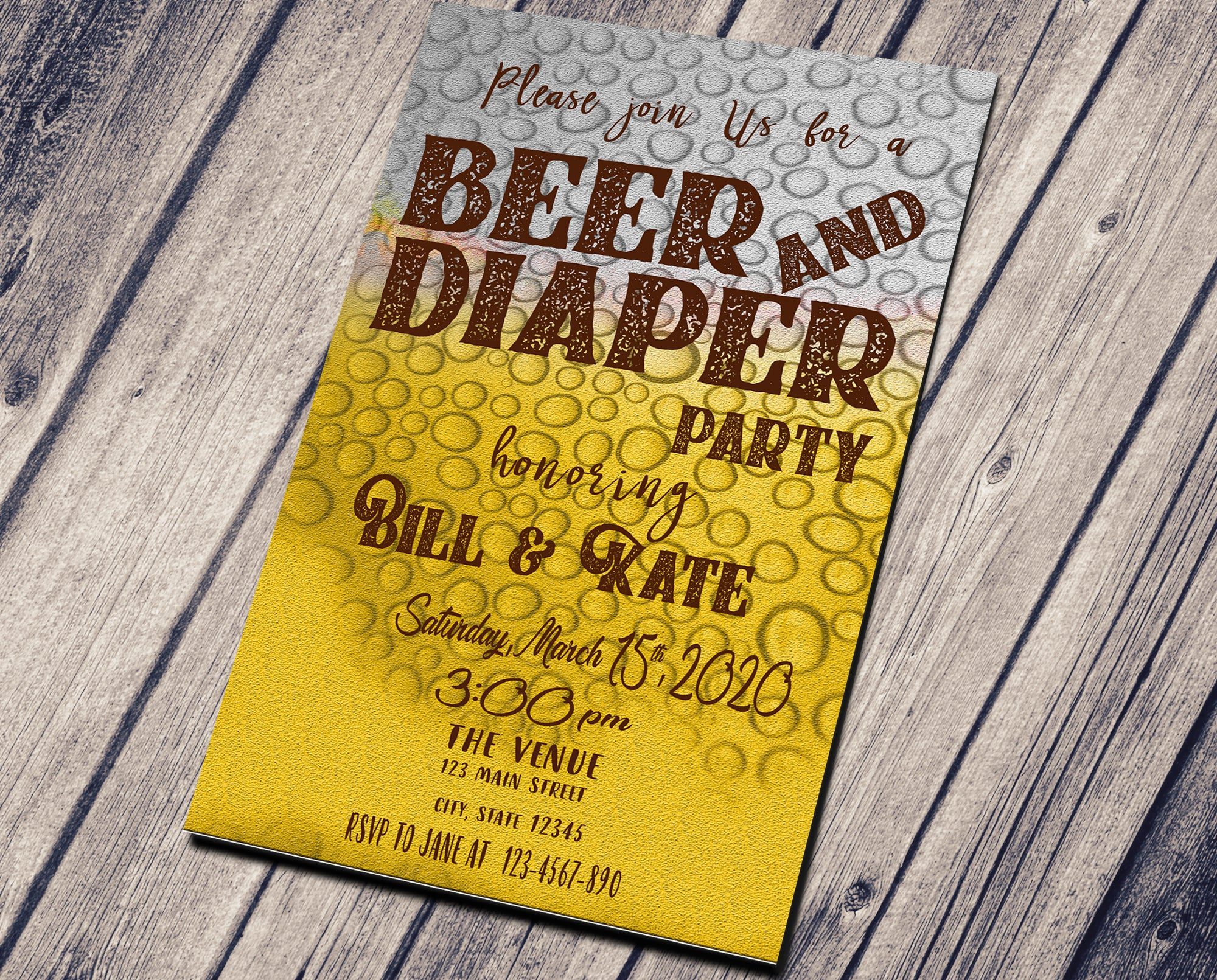 BEER AND DIAPER PARTY BIRTHDAY INVITATION - CUSTOM INVITATION FOR ADULT