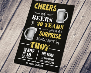 CHEER AND BEER BIRTHDAY INVITATION - CUSTOM INVITATION FOR ADULT