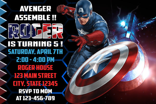 THE AVENGERS INVITATION - SUPERHEROES BIRTHDAY CARD