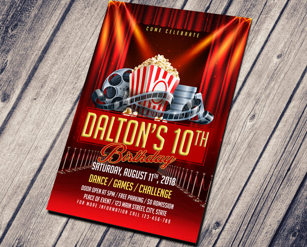 RED CARPETS CINEMA BIRTHDAY INVITATION - CUSTOM INVITATION FOR ADULT