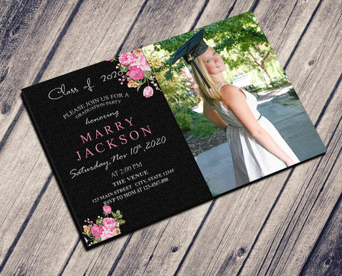 GRADUATION PARTY INVITATION - BEAUTY PINK WITH PHOTO