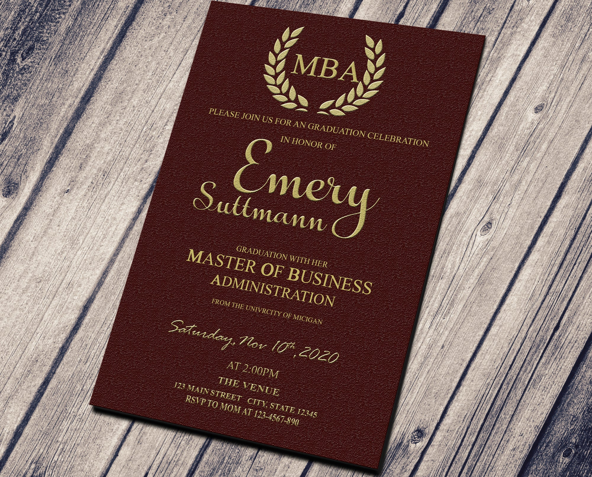 GRADUATION PARTY INVITATION - ELEGANT BROWN TEXTURED