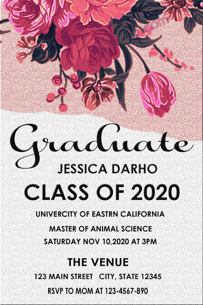 GRADUATION PARTY INVITATION - PINK SWEET FLOWERS