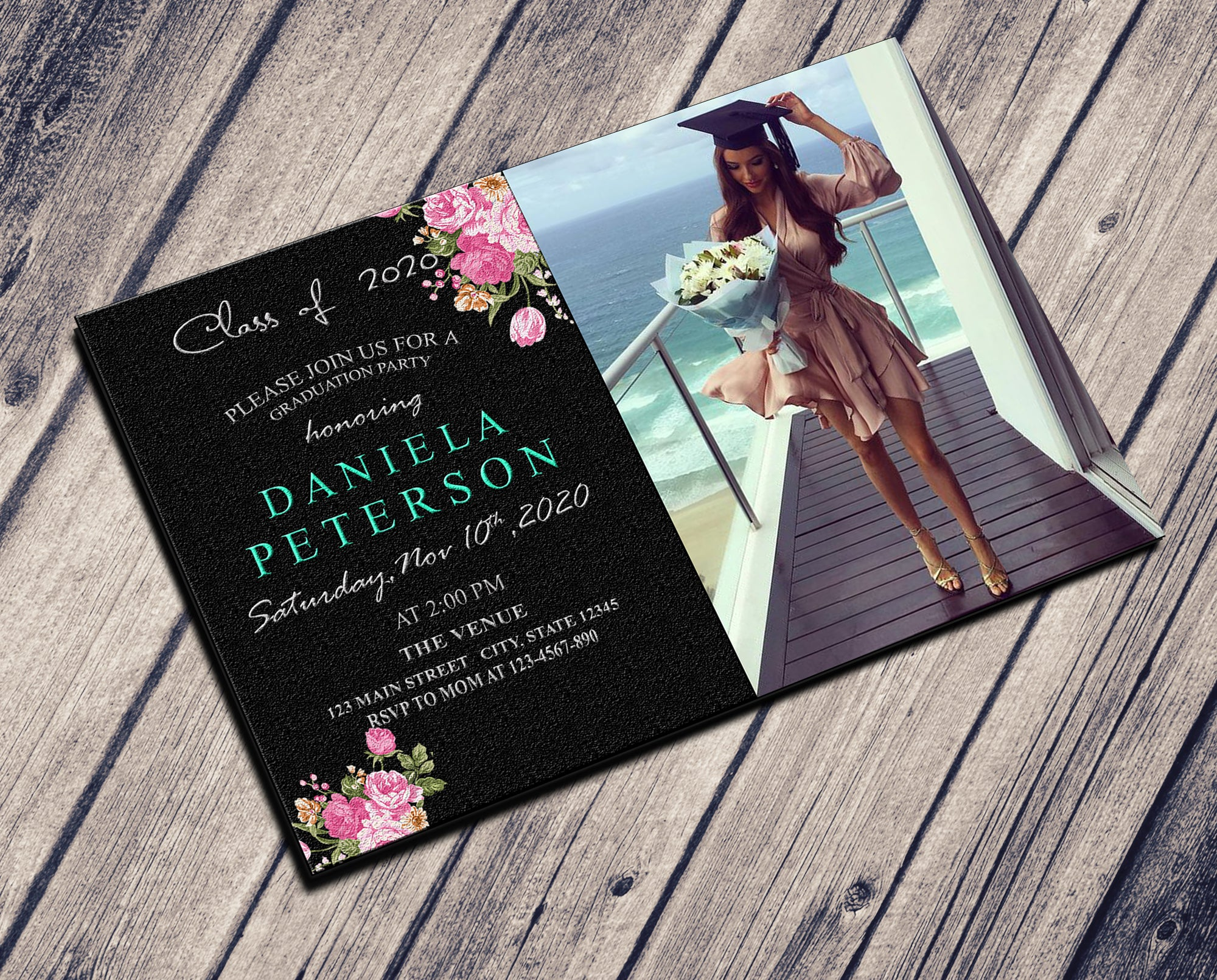 GRADUATION PARTY INVITATION - SOFT BLUE WITH PHOTO