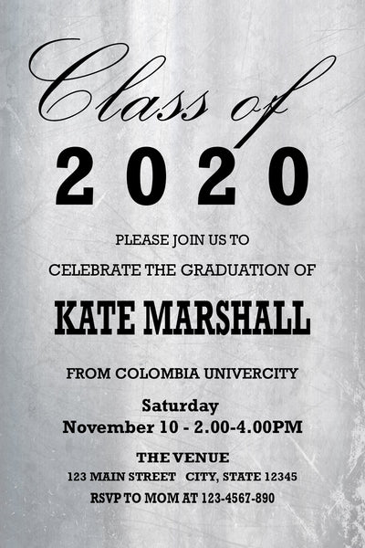 GRADUATION PARTY INVITATION - WHITE GLOSY ELEGANT
