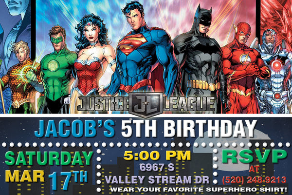 JUSTICE LEAGUE INVITATION - SUPERHEROES BIRTHDAY CARD
