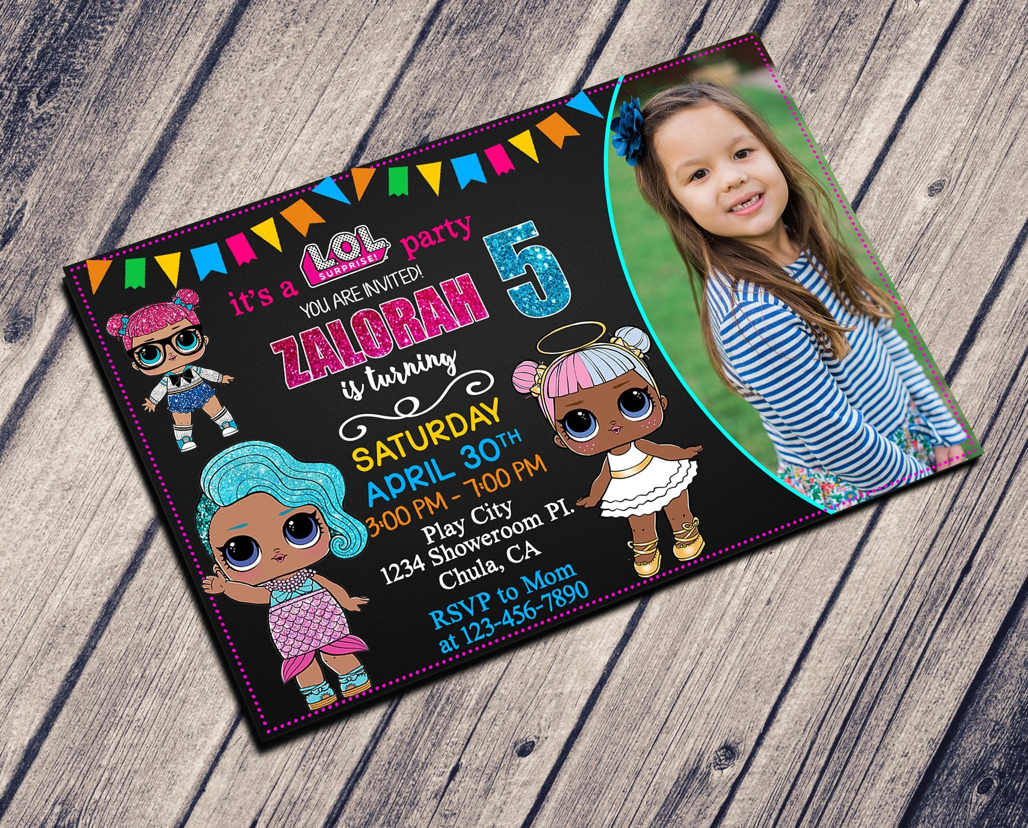 LOL DOLL Birthday invitation with photo, available on 4X6 or 5X7 size and JPG or PDF file type.