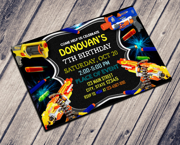 DART GUN BIRTHDAY INVITATIONS