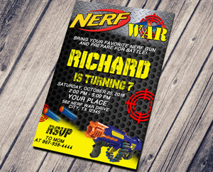 DART GUN BIRTHDAY INVITATION