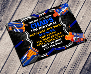 WAR GUN BIRTHDAY INVITATION