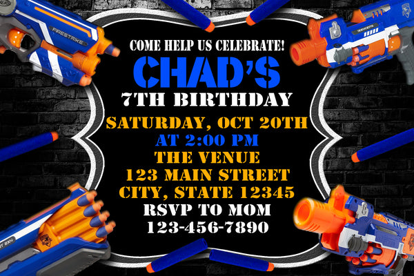 NERF DART GUN BIRTHDAY INVITATION - BATTLE ROYALE