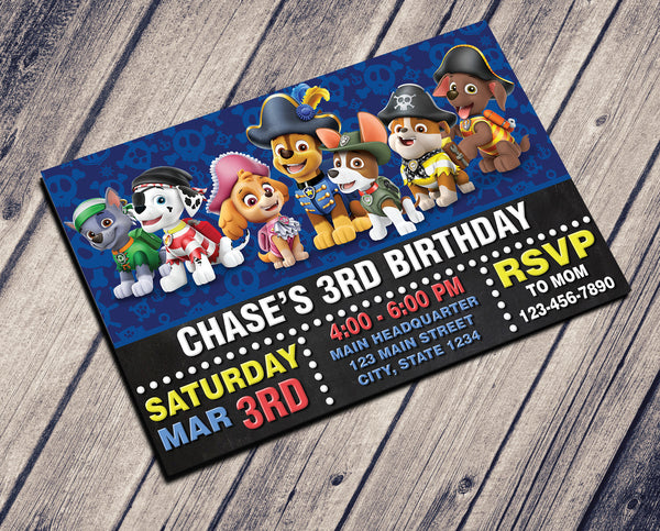 PAW PATROL PIRATES BIRTHDAY INVITATION