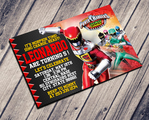 POWER RANGER DYNO CHARGE BIRTHDAY INVITATION