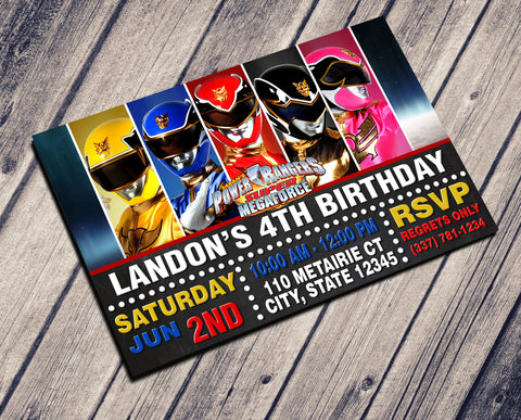 POWER RANGER BIRTHDAY INVITATION