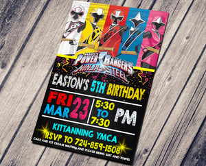 POWER RANGER NINJA STEEL BIRTHDAY INVITATION
