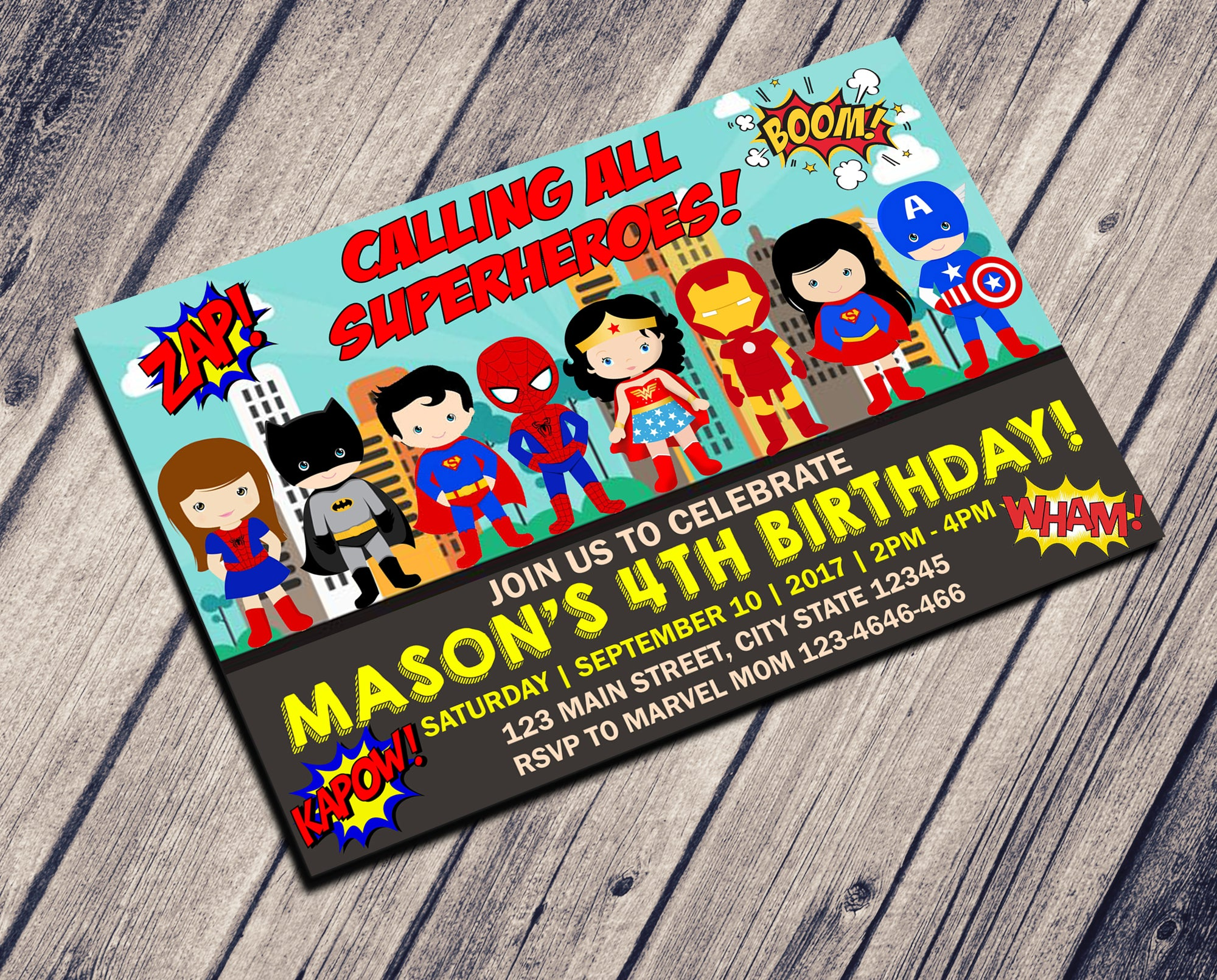 BABY HERO INVITATION - SUPERHEROES BIRTHDAY CARD