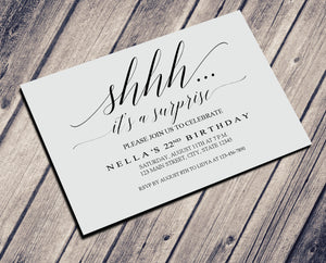 SURPIRSE PARTY BIRTHDAY INVITATION - CUSTOM INVITATION FOR ADULT