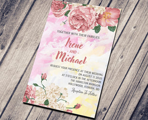 WEDDING PARTY INVITATION - SOFT ROSE