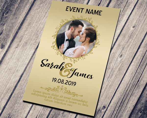 WEDDING PARTY INVITATION - GLOSSY GOLDEN WITH PHOTO