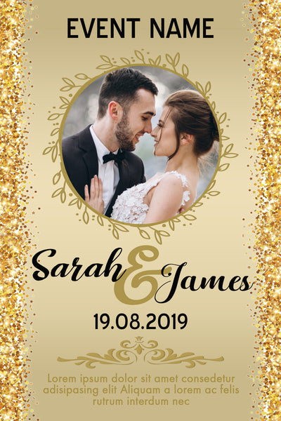 WEDDING PARTY INVITATION - GOLDEN FRAME WITH PHOTO
