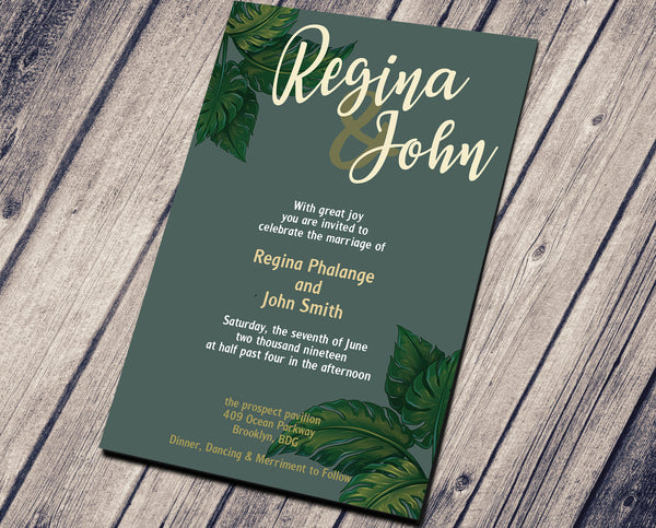 WEDDING PARTY INVITATION - DEEP GREEN