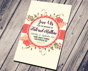 WEDDING PARTY INVITATION - ORANGE SHABBY IN YOU
